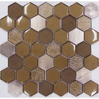 Мозаика Hexagon Brown Metal 48*48 мм